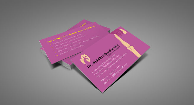 Business Card Design And Printing For Physiotherapy Clinic